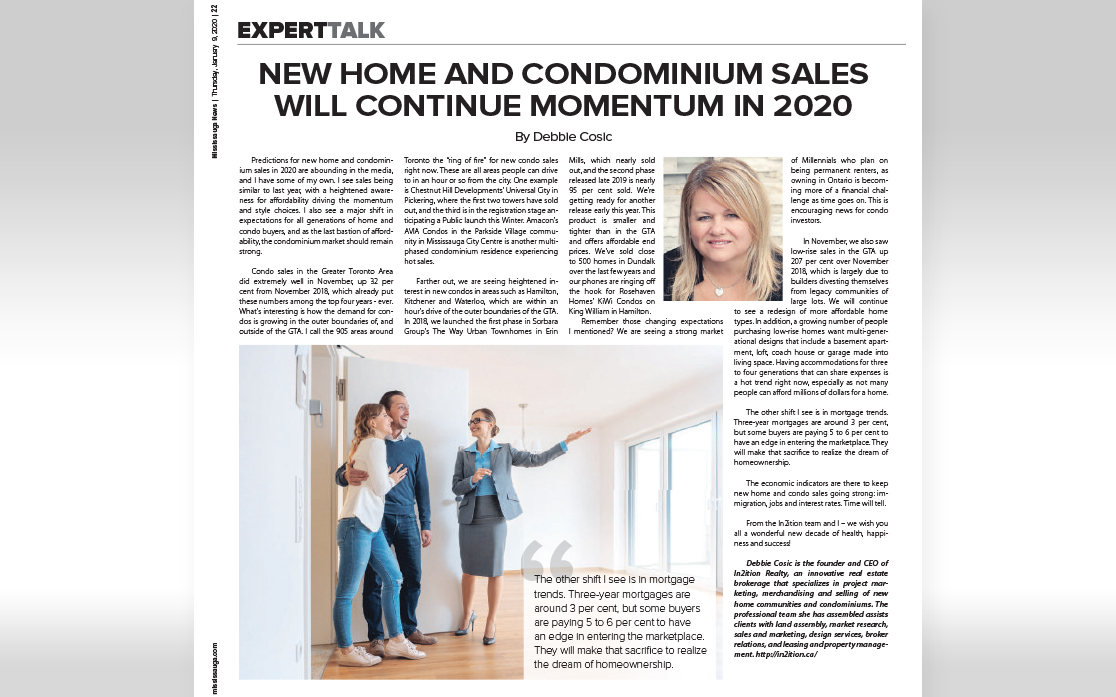 New Home and Condo Sales Will Continue Momentum in 2020